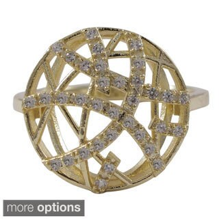 Luxiro Sterling Silver Cubic Zirconia Filigree Abstract Circle Ring