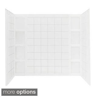 Ensemble 43-1/2 in. x 60 in. x 54-1/4 in. Three Piece Direct-to-Stud Tile Tub and Shower Wall Set in White