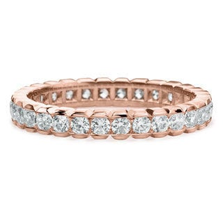 Amore 14k or 18k Rose Gold 1ct TDW Diamond Eternity Band (G-H, SI1-SI2)