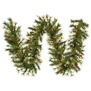 9-foot x 16-inch Mixed Country Garland with 100 Clear Lights