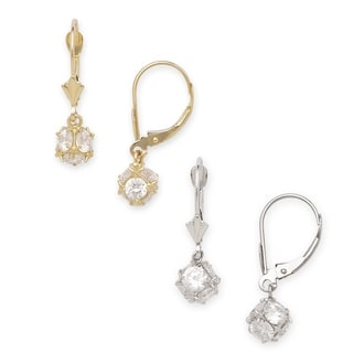 14k Gold Cubic Zirconia Disco Ball Drop Leverback Earrings