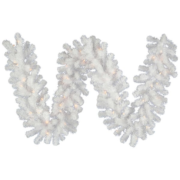 9-foot x 12-inch Crystal White Garland Dura-Lit with 50 Clear Lights