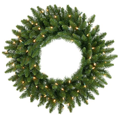 "30"" Pre-Lit Camdon Fir Artificial Christmas Wreath - Clear Dura Lights"