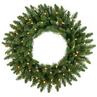 """30"""" Pre-Lit Camdon Fir Artificial Christmas Wreath - Clear Dura Lights"""