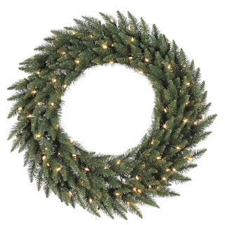 "60"" Pre-Lit Camdon Fir Artificial Christmas Wreath - Clear Dura Lights"