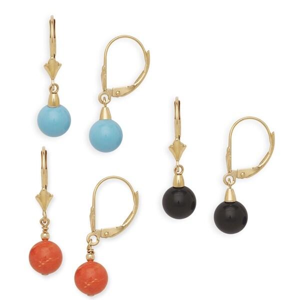 14k Gemstone Leverback Earrings