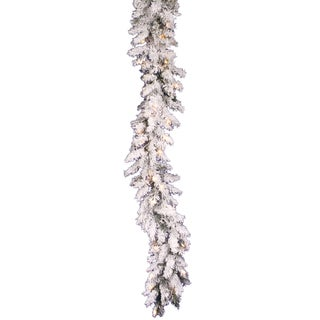 9-foot x 12-inch Flocked Alaskan Garland Dura-Lit with 50 Clear Lights