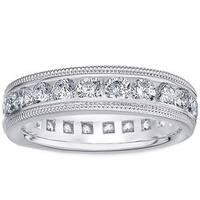 Amore Platinum 2ct TDW Milligrain Edge Diamond Wedding Band