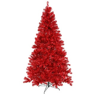 """6' x 44"""" Pre-Lit Sparkling Red Artificial Christmas Tree - Red Lights"""