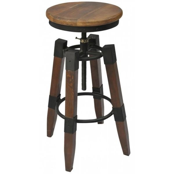 Shop Renfrew Adjustable Height Iron Mango Wood Stool