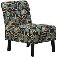 Hodedah Floral Armless Accent Chair