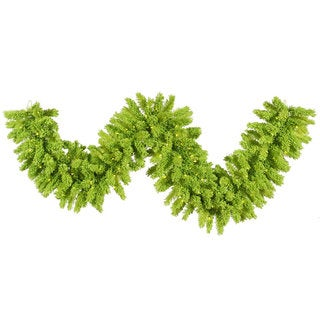 9-foot x 14-inch Flocked Lime Garland with 100 Aqua Mini Lights