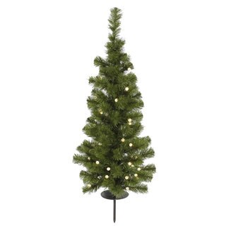 4-foot x 20-inch 231 Tips Evergreen Tree with 100 Warm White LED Lights and Solar Panel