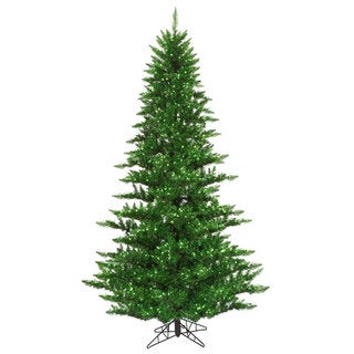 7.5-foot x 52-inch Tinsel Green Fir with 750 Green Lights, 1634 Tips