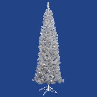 7.5-foot x 34-inch Silver Pencil Tree with 400 Clear Lights, 803 Tips