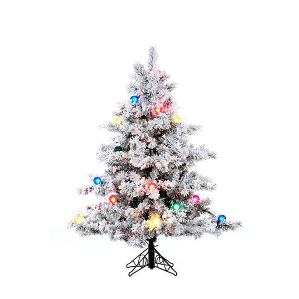 4.5-foot Flocked Alaskan Pine Christmas Tree - Free Shipping Today ...