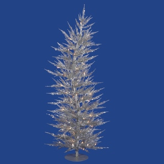 5-foot x 24-inch Silver Laser Tree with 100 Clear Lights, 889 Tips