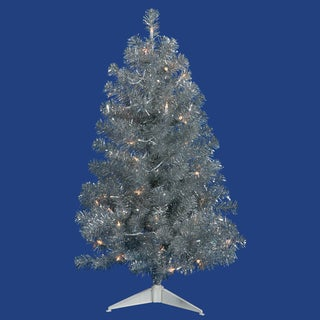 7' Pre-Lit Sparkling Silver Full Artificial Tinsel Christmas Tree - Clear Lights