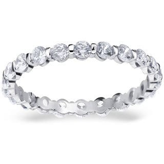Amore Platinum 1ct TDW Bar Set Diamond Eternity Band