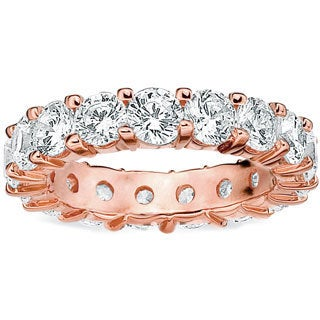 Amore 14k or 18k Rose Gold 5ct TDW Shared Prong Diamond Wedding Band