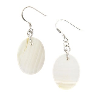 Pearlz Ocean Grey Banded Agate Earrings