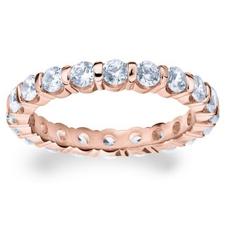 Amore 14k or 18k Rose Gold 1 1/2ct TDW Bar-set Diamond Eternity Band