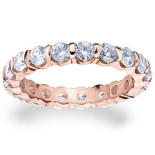 Amore 14k or 18k Rose Gold 2ct TDW Bar Set Diamond Eternity Ring (G-H, SI1-SI2)