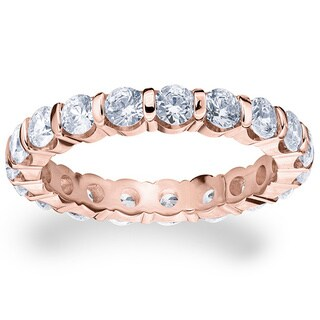 Amore 14k or 18k Rose Gold 2ct TDW Bar Set Diamond Eternity Ring