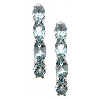 Anika and August Sterling Silver Brazilian Aquamarine Drop Earrings
