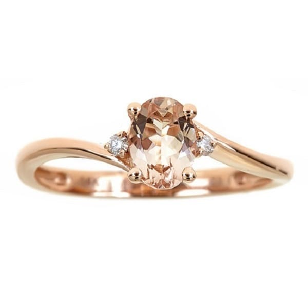 Anika and August 14k Rose Gold Morganite and Diamond Accent Ring
