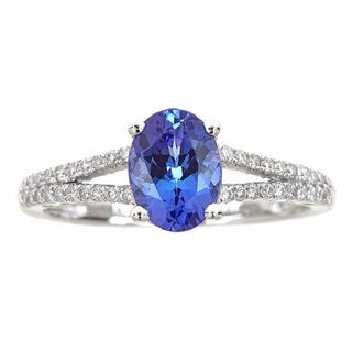 Anika and August 14k White Gold 1/4ct TDW Diamond and Tanzanite Ring (G-H, I1-I2)