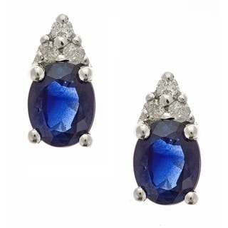 Anika and August 10k White Gold Blue Sapphire and Diamond Accent Stud Earrings