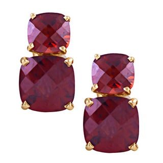14k Yellow Gold Faceted Cushion Garnet Dual Stud Earrings