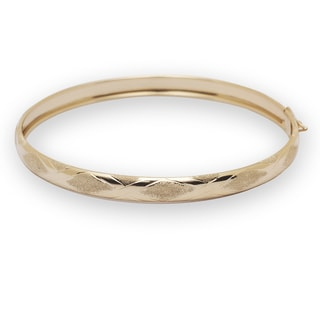 10k Yellow Gold Satin Finish 7 or 8-inch Flexible Bangle Bracelet