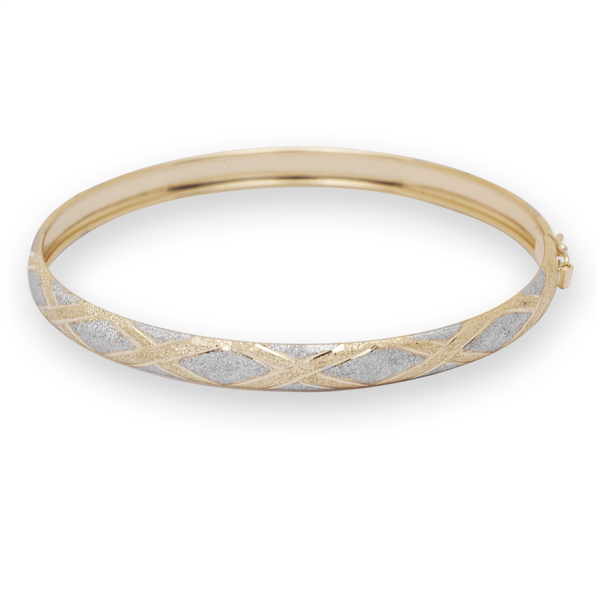 "7/"" or 8/"" Textured X Design Bangle Bracelet Real 10K Yellow White Two-Tone Gold"
