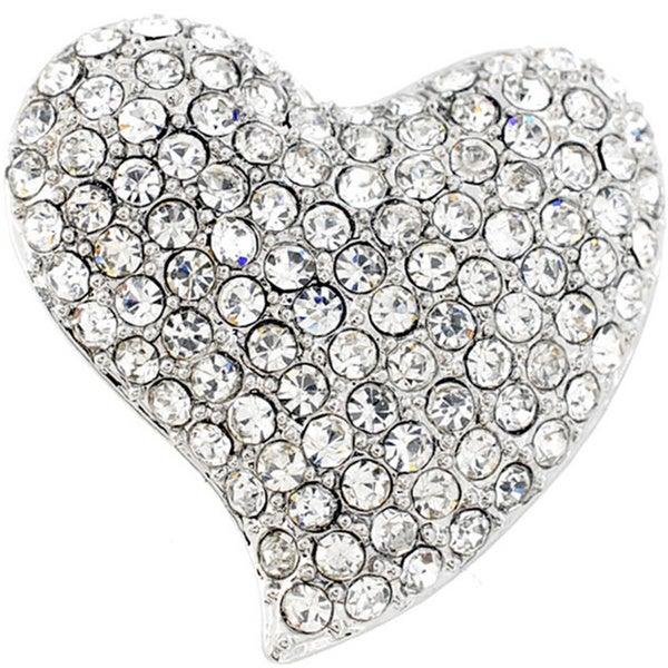 Crystal Heart Pin Brooch