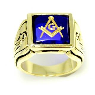 Gold Tone Faux Sapphire Stone Masonic Ring