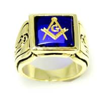 Gold Tone Cubic Zirconia Masonic Ring