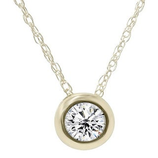 14k Yellow Gold 1/2ct TDW White Diamond Solitaire Pendant Necklace (I-J, I2-I3)