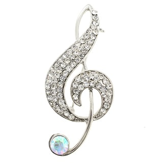 Chrome Music Note Crystal Pin Brooch