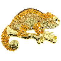 Golden Chameleon Crystal Brooch Pendant