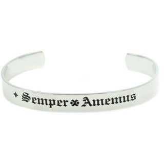Stainless Steel Latin & English Our Love Is Forever Cuff Bracelet