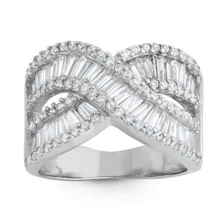 Gioelli Sterling Silver Cross-Over Baguette Cubic Zirconia Ring