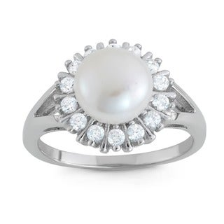 Gioelli Sterling Silver Freshwater Pearl Sunbrust Cubic Zirconia Ring (8 mm)