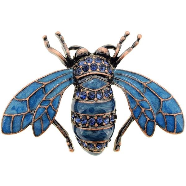 Blue Honey Bee Crystal Pin Brooch