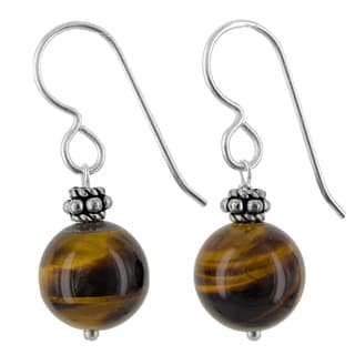 Ashanti Sterling Silver Tiger Eye Gemstone Handmade Earrings (Sri Lanka)
