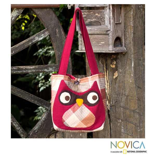 Novica Cotton shoulder bag, Happy Owl