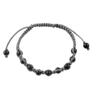 Handmade Onyx 'Quiet Dark' Bracelet (India)