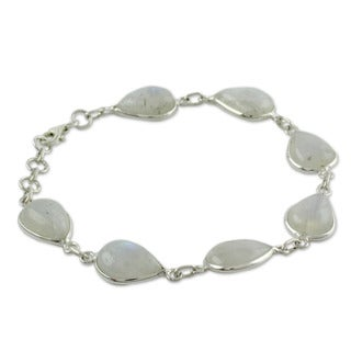 Sterling Silver 'Inspired Intuition' Moonstone Link Bracelet (India)