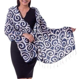 Handmade Silk 'Blue Thai Maze' Scarf (Thailand)